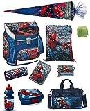 Familando Spiderman Schulranzen-Set 10-teilig mit Federmappe,...